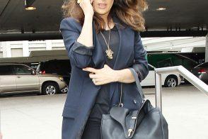 Salma Hayek Carries Balenciaga at the Airport