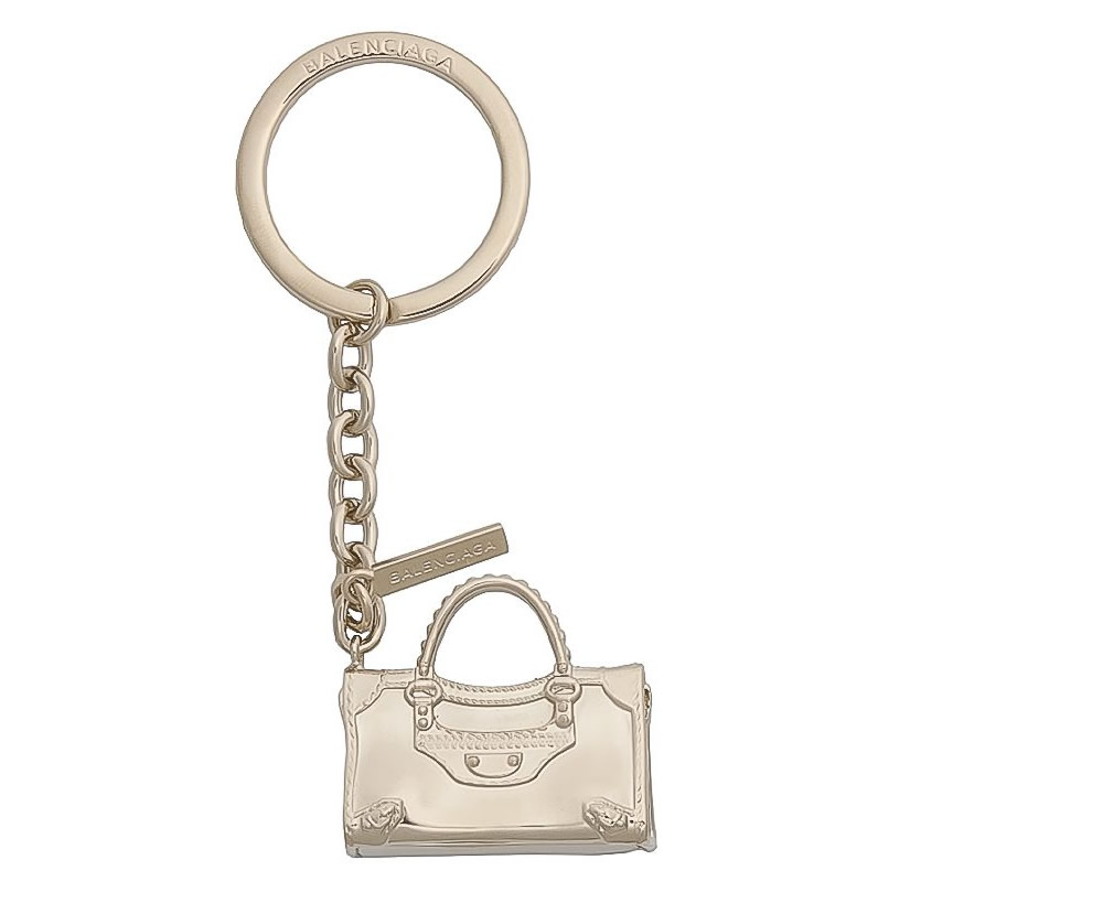 Balenciaga Pale Gold City Bag Key Ring