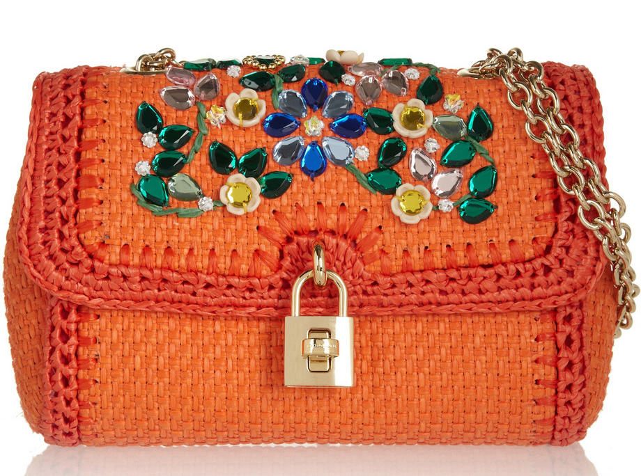 Dolce & Gabbana Miss Dolce Raffia Shoulder Bag