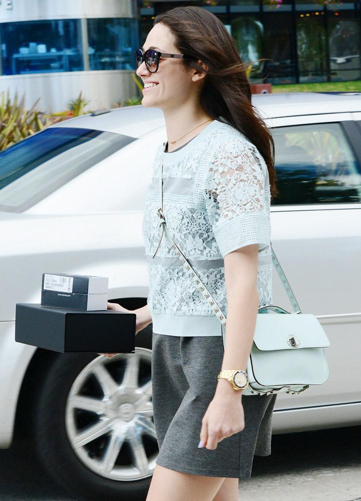 Emmy Rossum Rebecca Minkoff Blake Studded Shoulder Bag-2