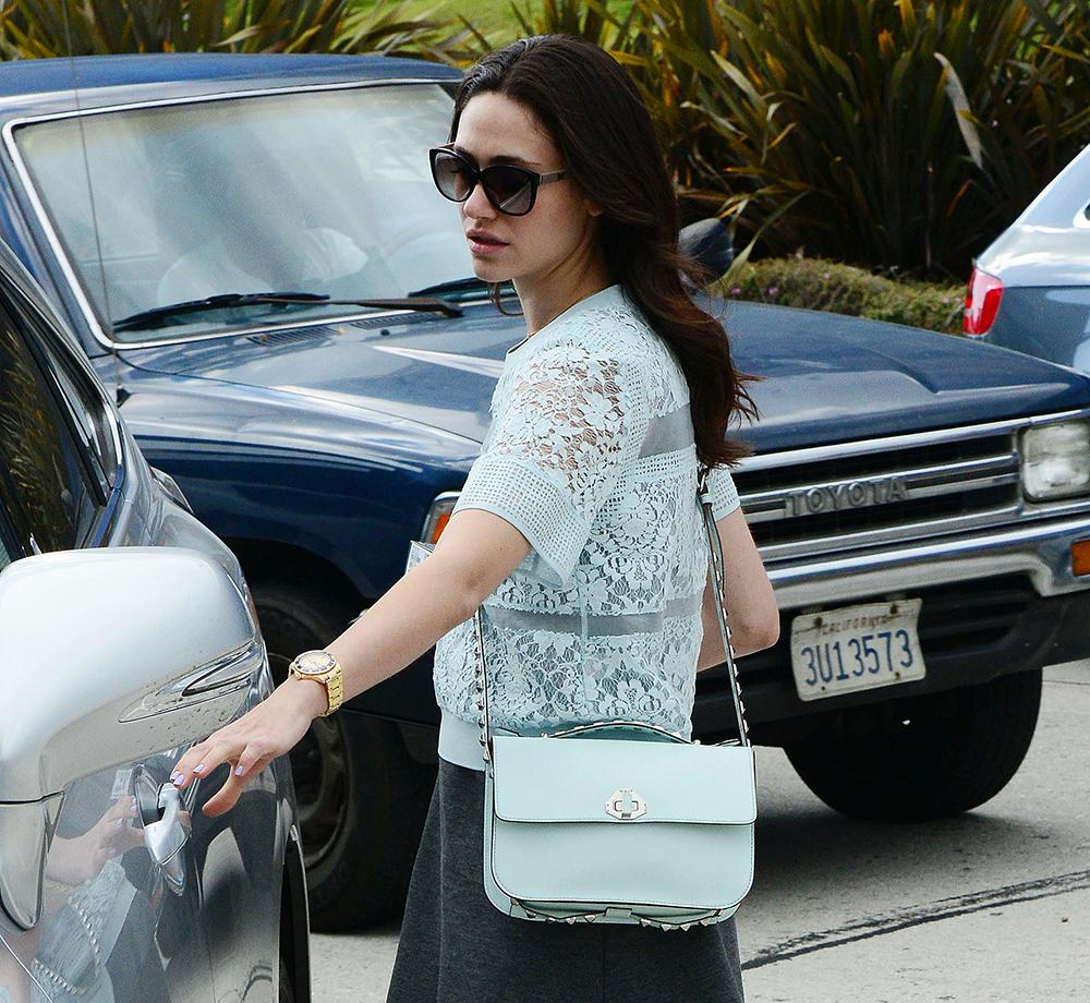 Emmy Rossum Rebecca Minkoff Blake Studded Shoulder Bag