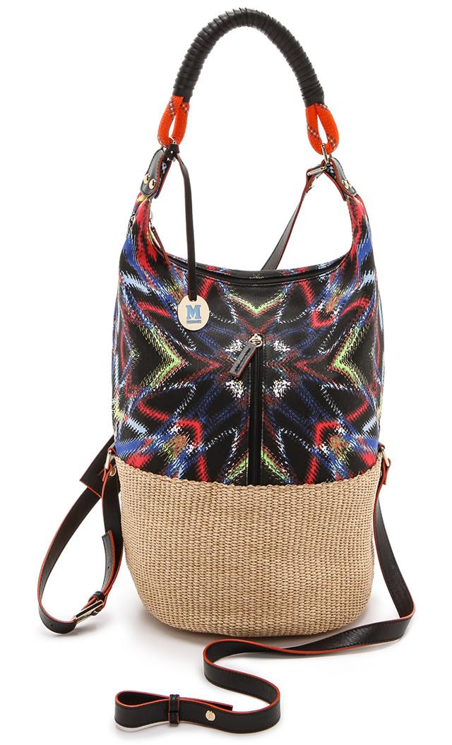 M Missoni Frequency Canvas Raffia Bag