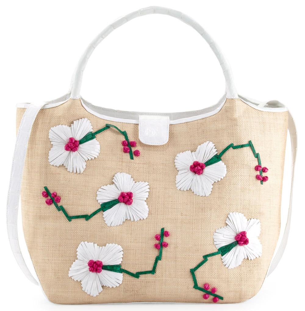 Nancy Gonzalez Crocodile Straw Flower Tote Bag