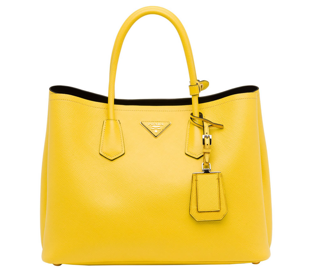 prada pale yellow saffiano lux leather twin medium tote bag