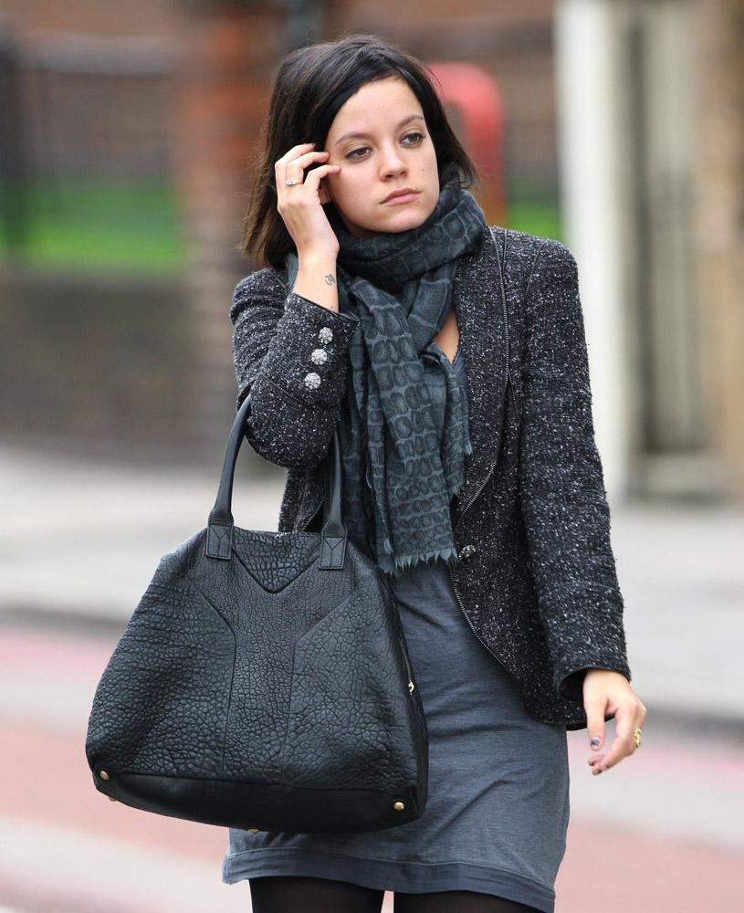 yves st laurent handbag - The Many Bags of Lily Allen - PurseBlog