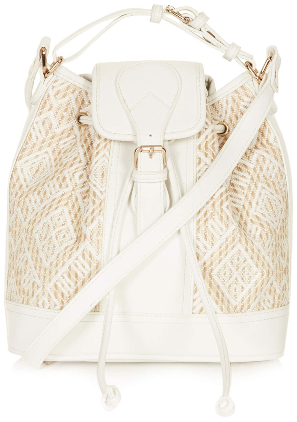 Topshop Woven Straw Panel Duffle Bag
