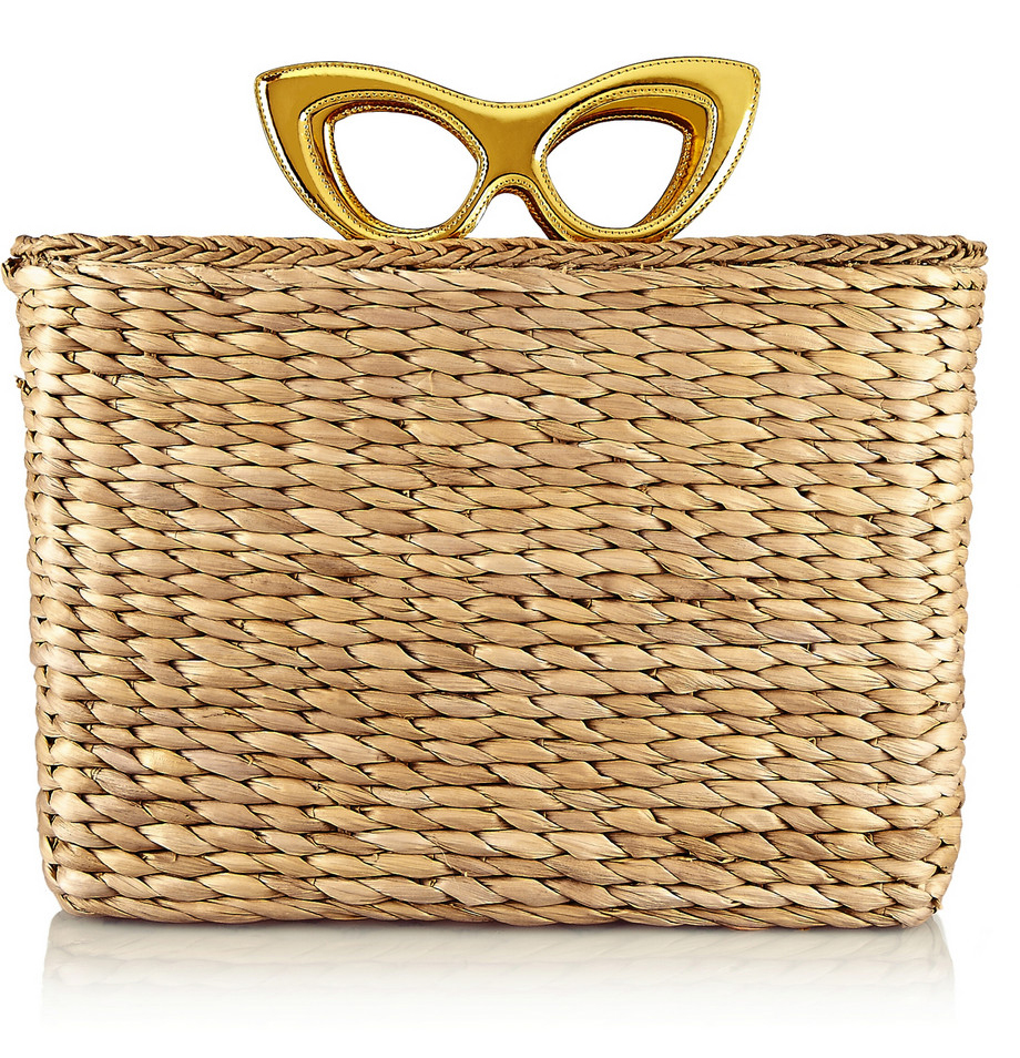 CHARLOTTE OLYMPIA Sunny Basket leather-trimmed raffia tote