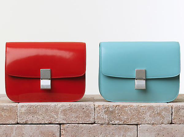Celine Classic Box Handbag in Vermilion and Azur