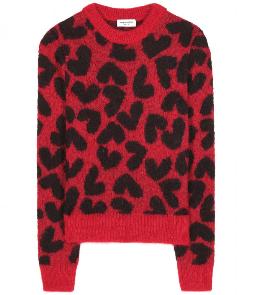 Saint Laurent Heart Intarsia Mohair Blend Sweater
