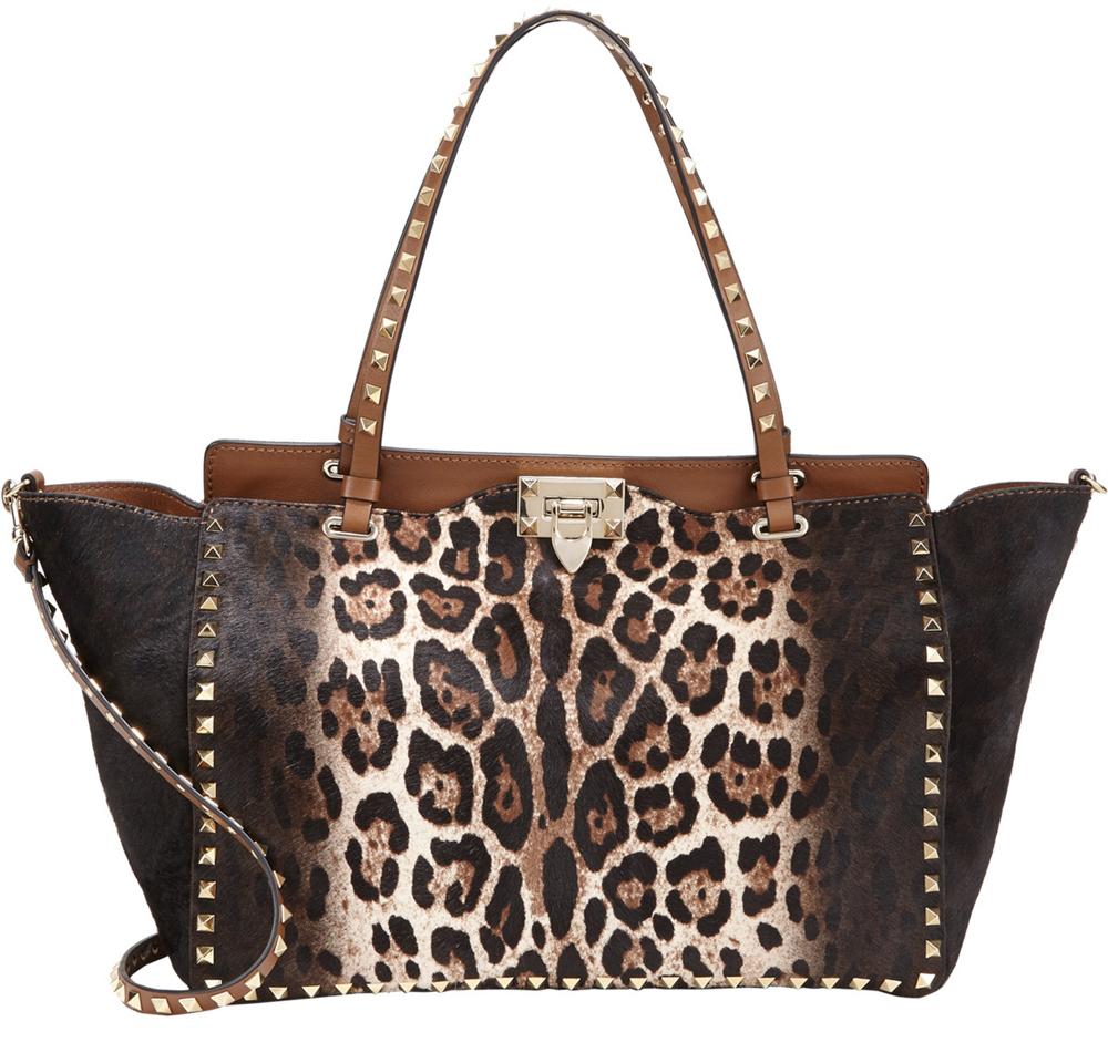 Valentino Leopard Calf Hair Rockstud Trapeze Bag, $3,995 via Barneys