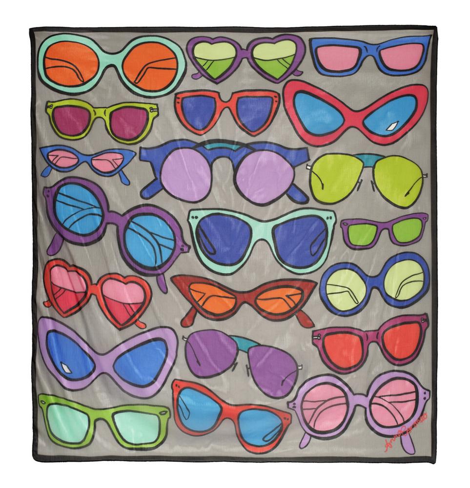 ANNA CORONEO Sunglasses-print silk-chiffon scarf