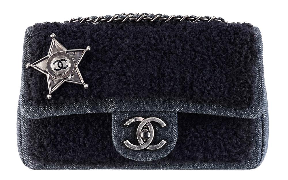 Chanel Sheepskin and Denim Sheriff Star Flap Bag