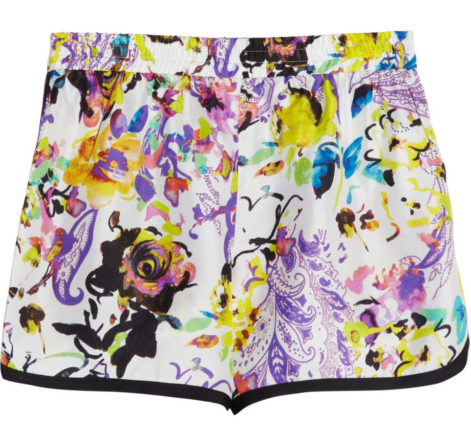 Etro Floral Silk Shorts