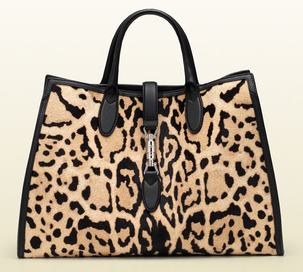 Gucci Jackie Soft Tote Leopard