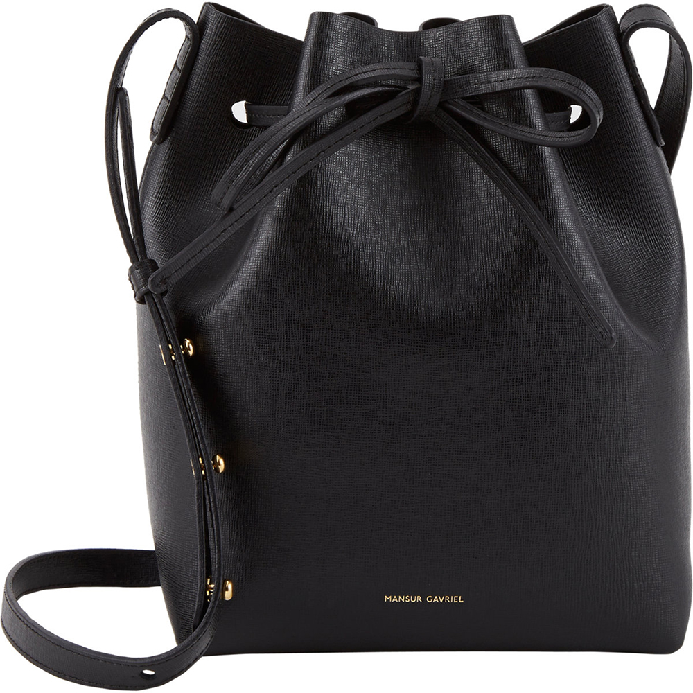 Mansur Gavriel Black Saffiano Mini Bucket Bag