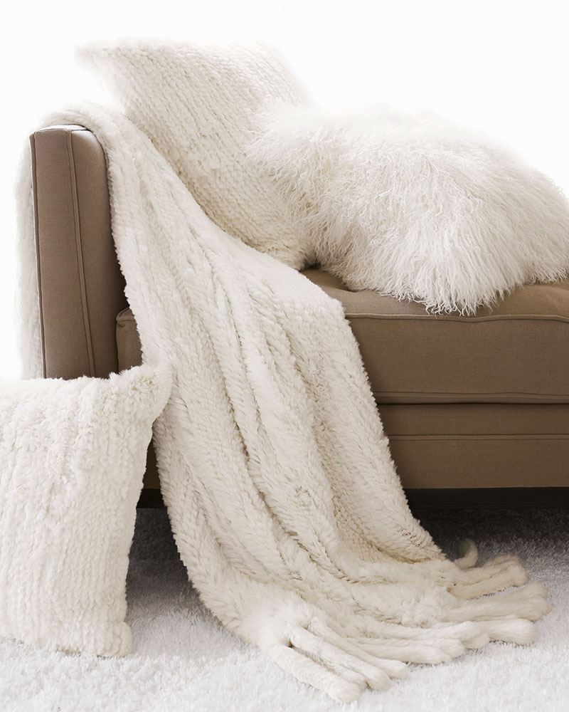 Adrienne Landau Fur Pillows and Throw