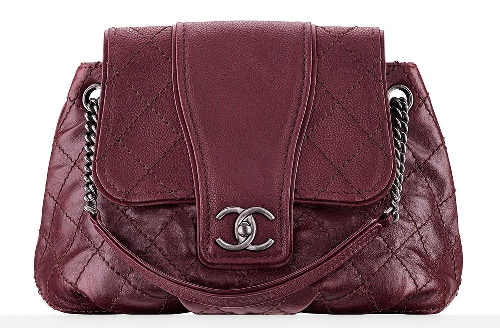 Chanel Calfskin Messenger Bag Burgundy 3000