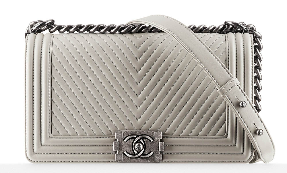 Chanel Chevron Boy Bag Ivory 4500