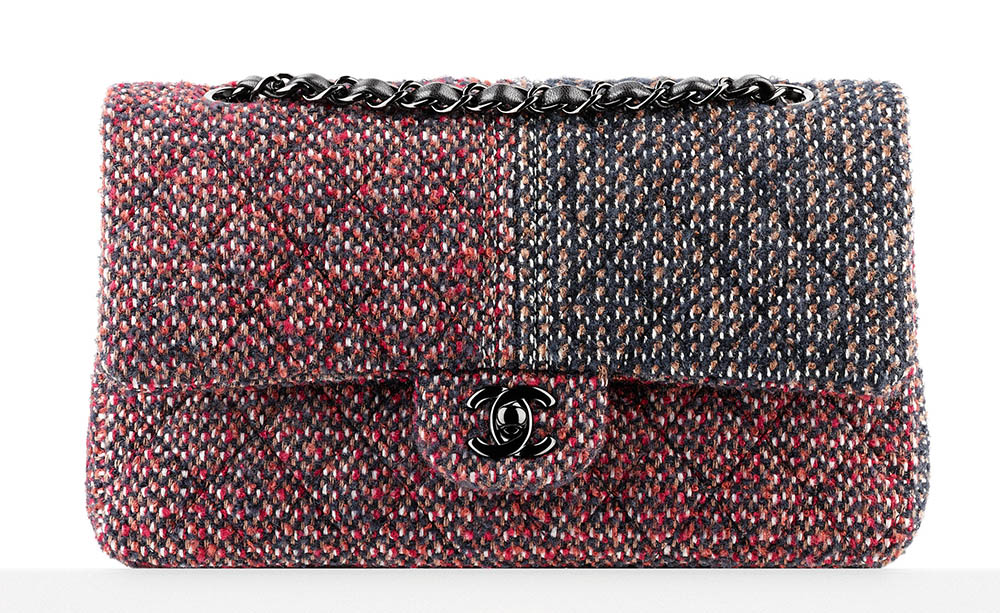 Chanel Classic Flap Bag Tweed Red 3400