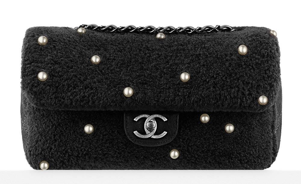 Chanel Pearl Embellished Shearling Flap Bag Black 4900
