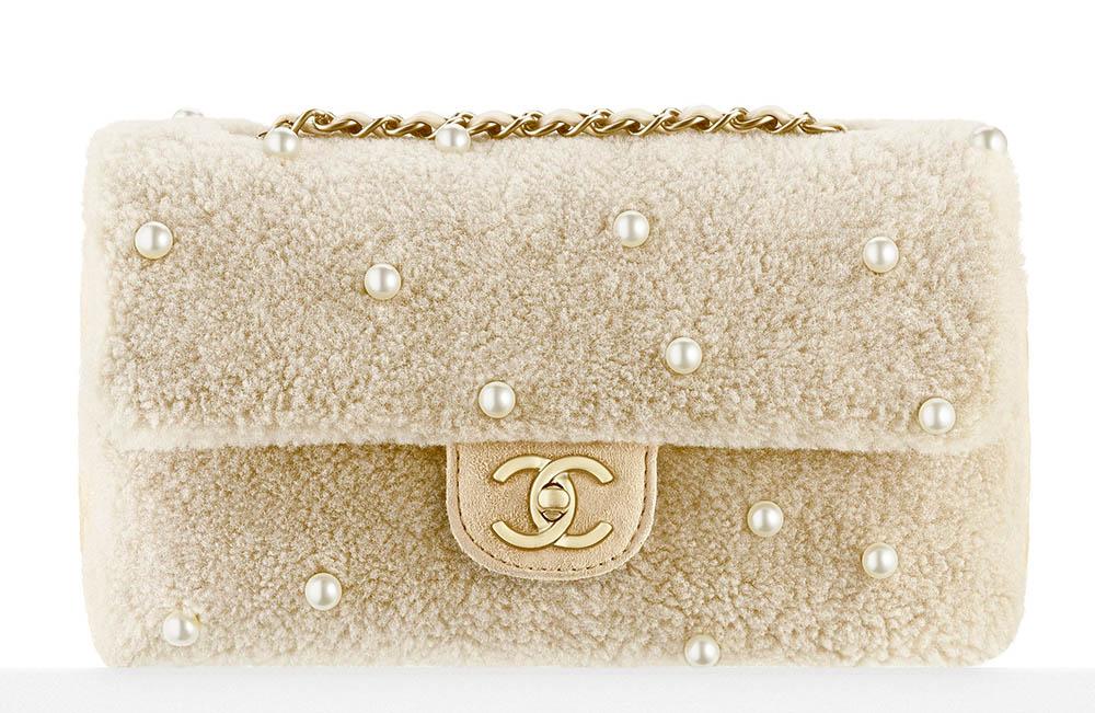 Chanel Pearl Embellished Shearling Flap Bag Ivory 4900