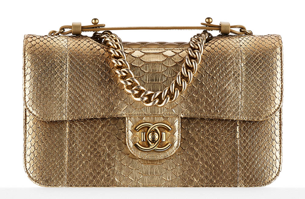 Chanel Python Flap Bag Gold