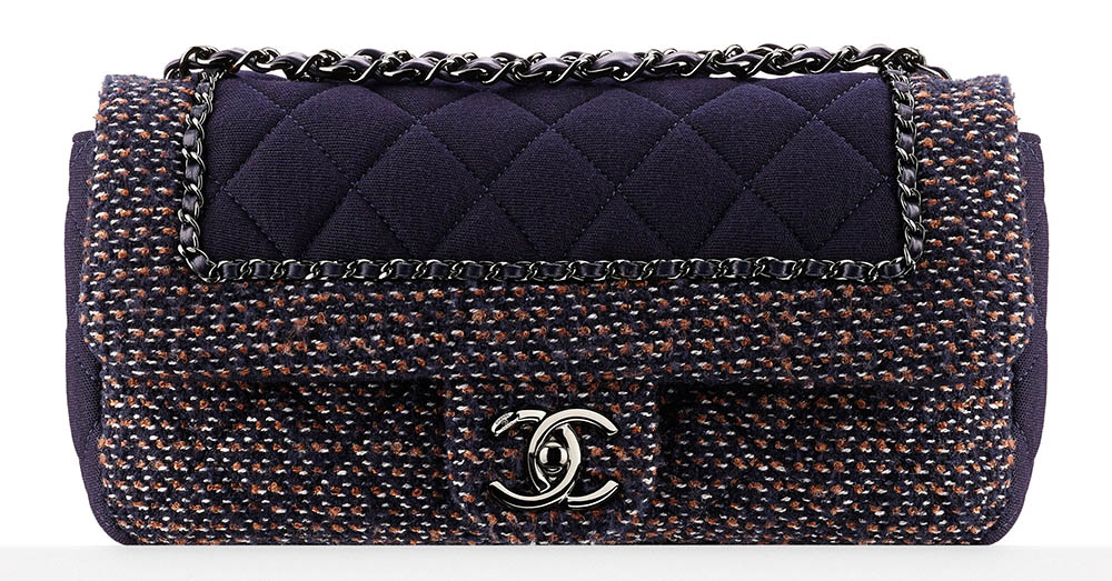 Chanel Small Jersey and Tweed Flap Bag Purple 3500
