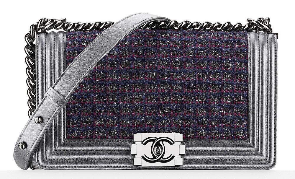 Chanel Tweed Boy Bag Blue 4700
