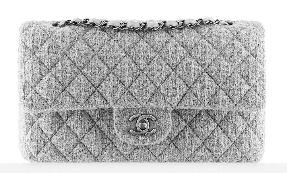 Chanel Tweed Classic Flap Bag Grey 3400