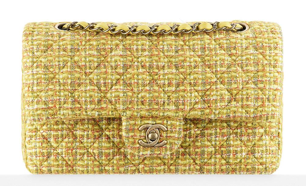 Chanel Tweed Classic Flap Bag Yellow 3400