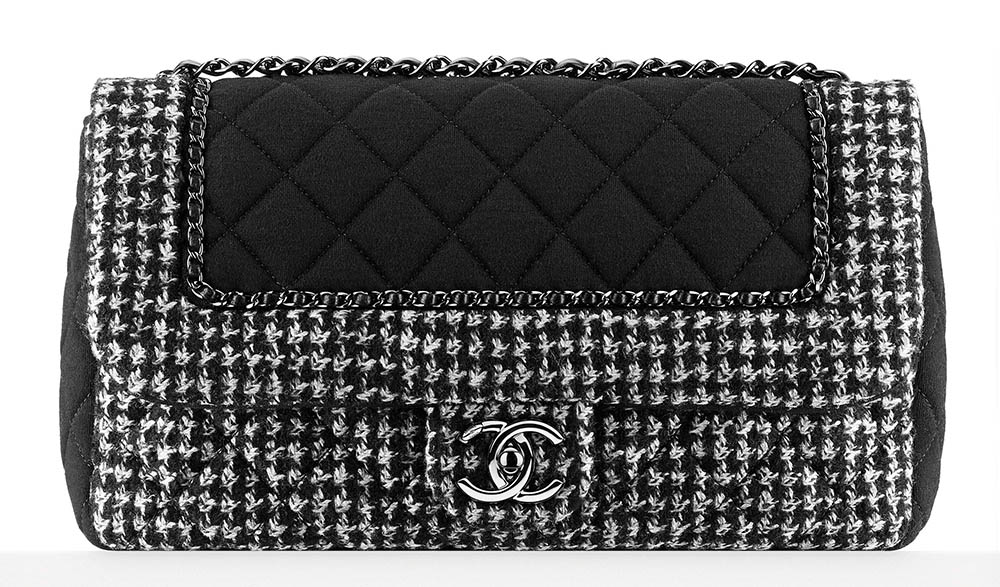Chanel Tweed and Jersey Flap Bag Black 3800