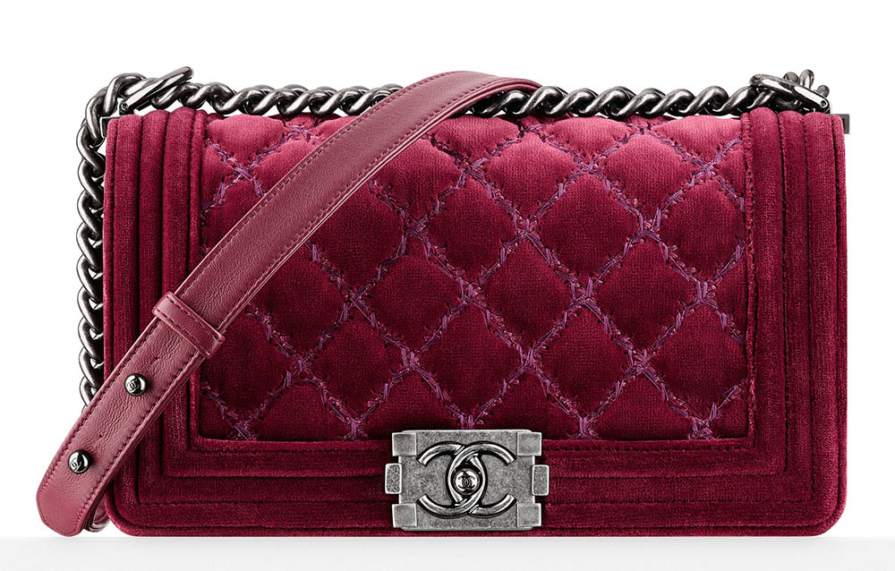 Chanel Velvet Boy Bag Burgundy 3700