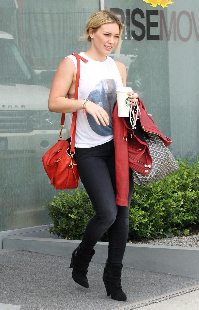Hilary Duff Louis Vuitton Speedy Empreinte Goyard St. Louis Tote-2