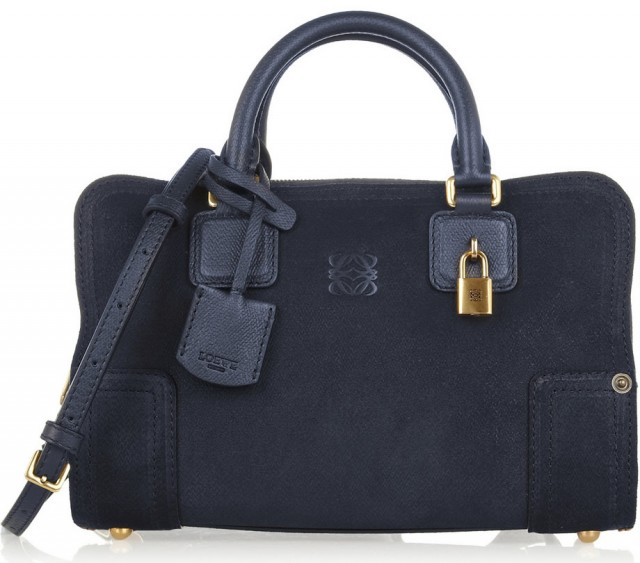 Loewe Amazona Small Denim-effect Suede Tote