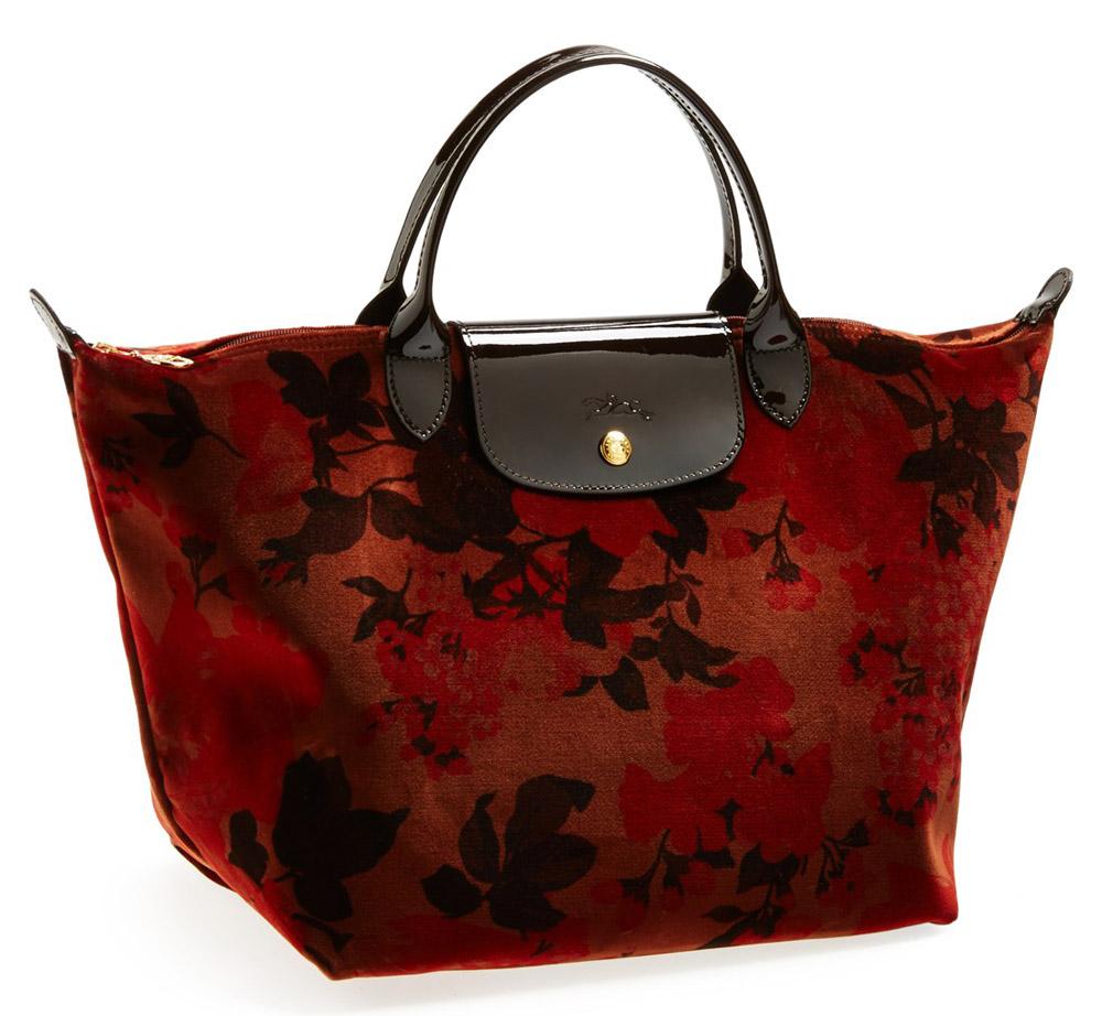 Longchamp Fleurs Palace Velvet Tote
