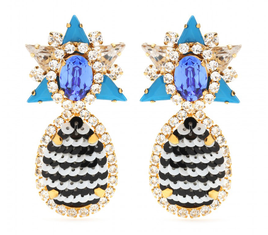Shourouk Galaxy Sequins Clip-On Earrings