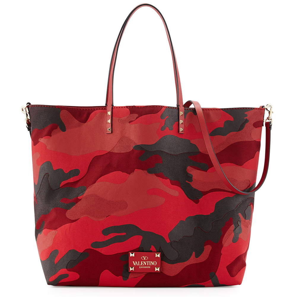 Valentino Convertible Camo Rockstud Rouge Absolute Bag
