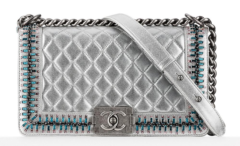 Chanel Embellished Boy Bag Silver 10800