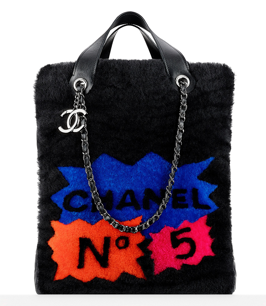 Chanel Patchwork Shearling Large Shopping Tote 8500