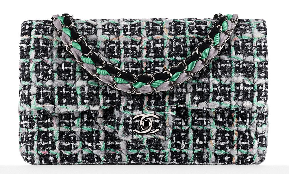 Chanel Tweed Flap Bag Green 3900