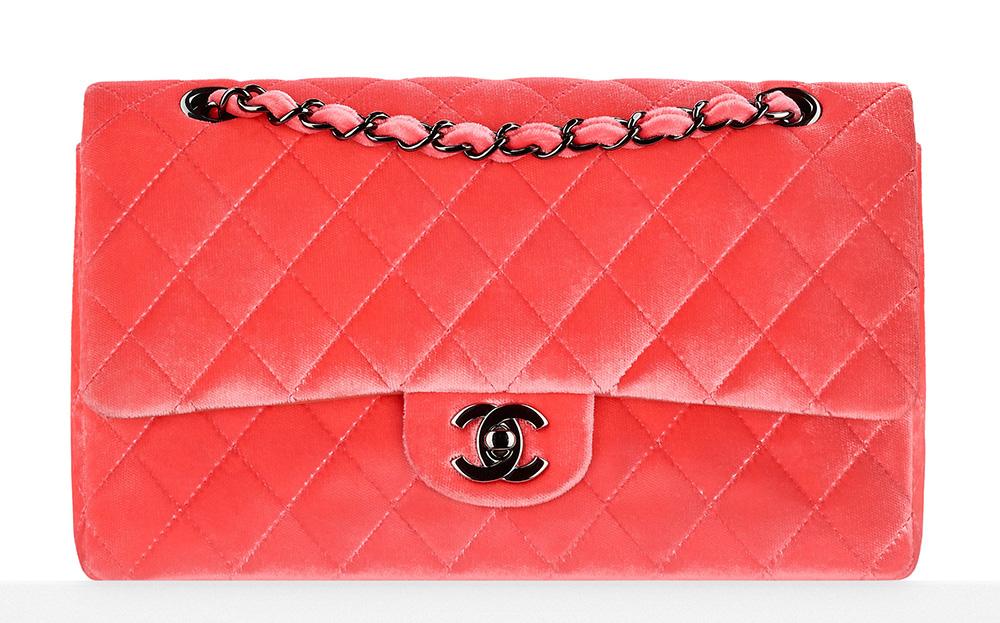 Chanel Velvet Classic Flap Bag Peach 3700