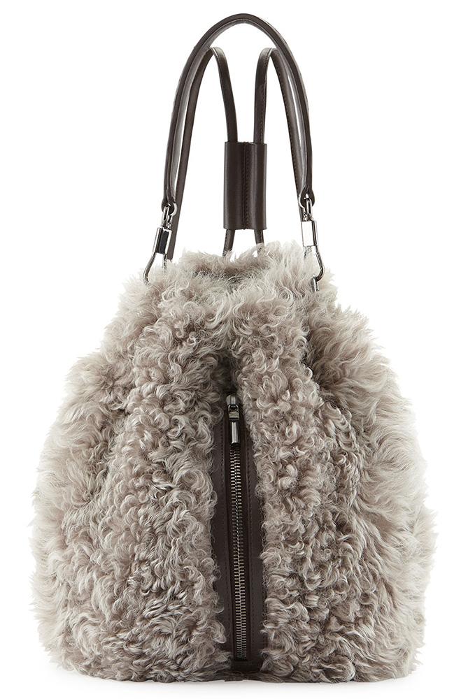 Elizabeth and James Cynnie Lamb Fur Sling Bag