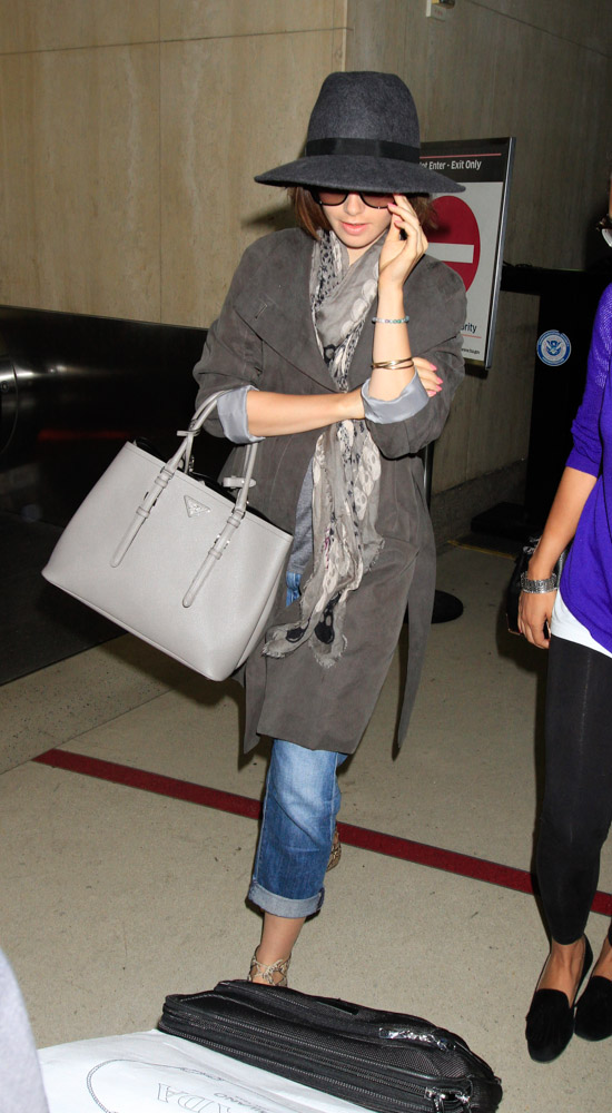 fake prada purses - Lily Collins Arrives at LAX with a New Prada Bag - PurseBlog