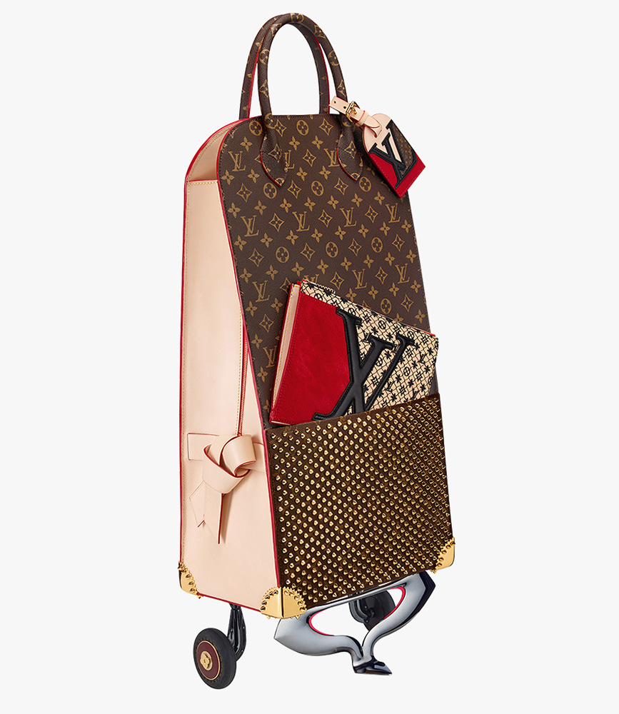 louis vuitton unveils monogram collaboration pieces from karl lagerfeld christian louboutin and. Black Bedroom Furniture Sets. Home Design Ideas