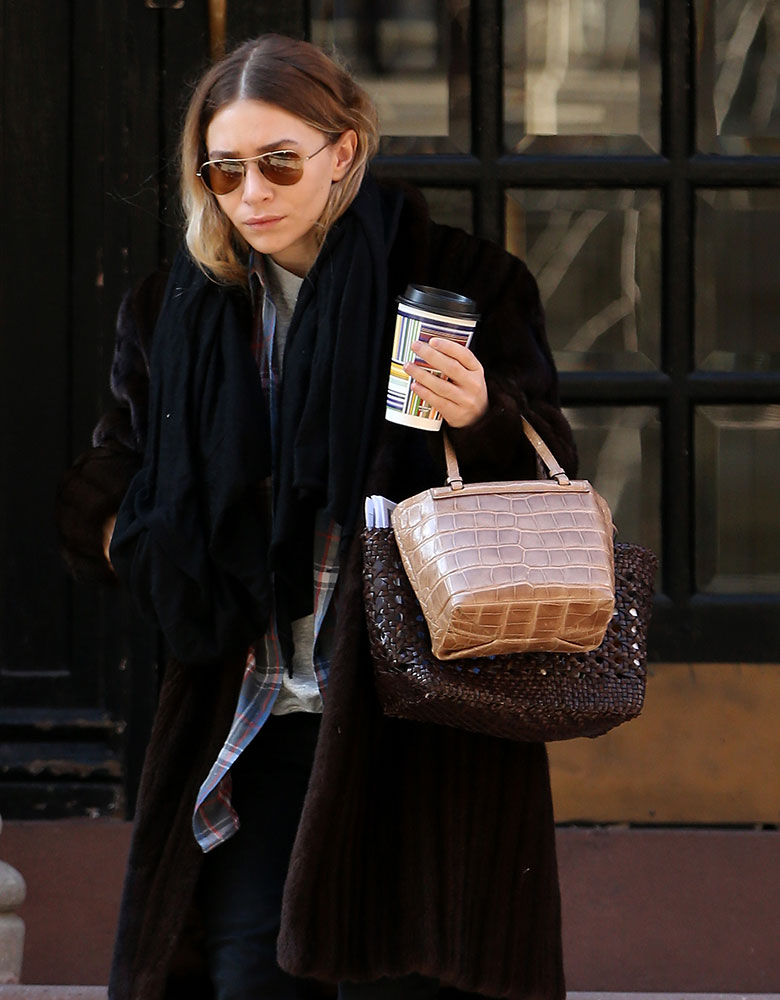 Ashley-Olsen-The-Row-Mini-Alligator-Tote