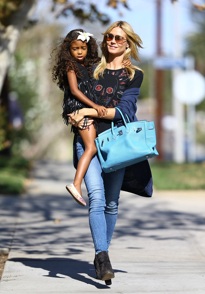 hermes leather bags - Heidi Klum Takes Her Kids to Pinkberry with a Birkin on Her Arm ...