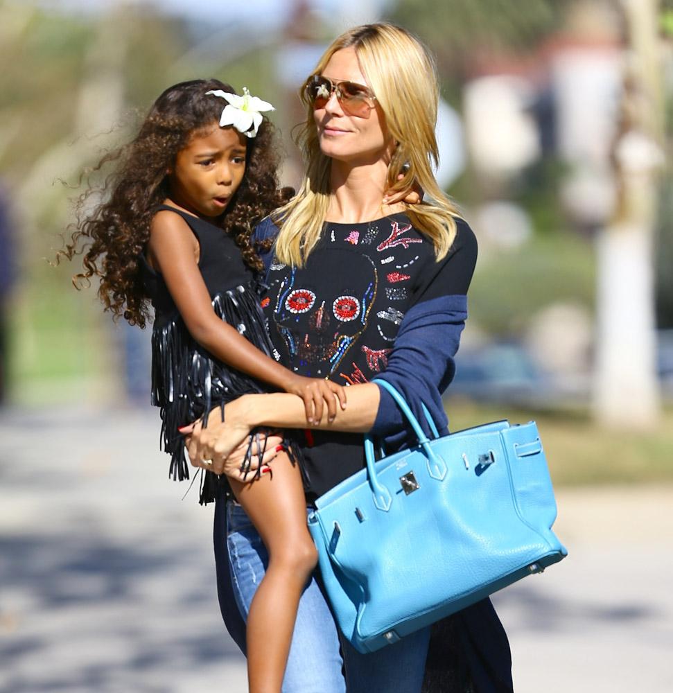 Heidi Klum Takes Her Kids To Pinkberry With A Birkin On