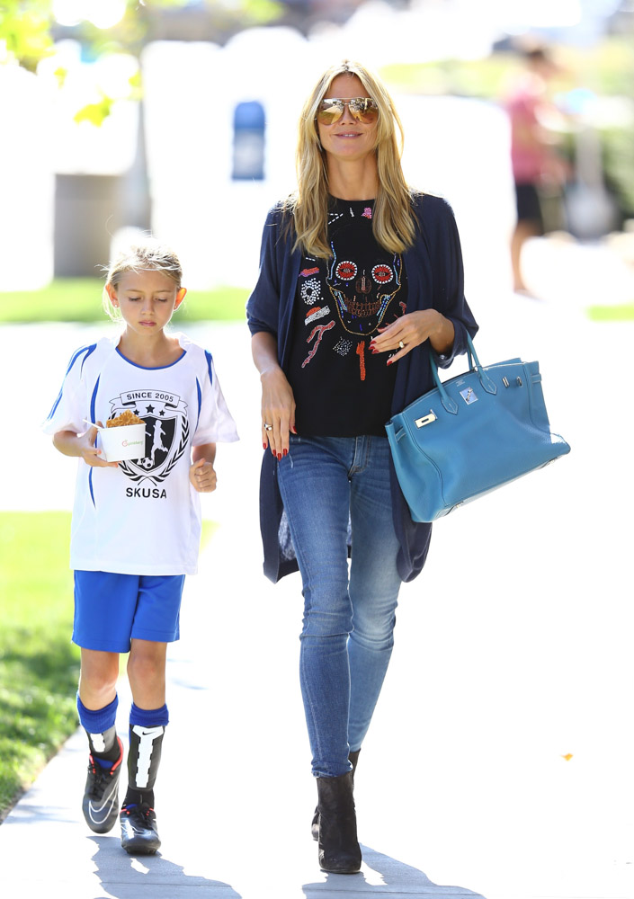 how to spot a fake hermes bag - Heidi Klum Takes Her Kids to Pinkberry with a Birkin on Her Arm ...