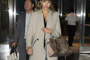 Jessica Alba Heads to the Airport with a Nina Ricci Bag