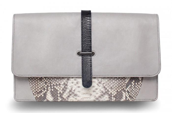 Khirma Eliazov Maxim Python & Lizard Fold-Over Clutch Bag